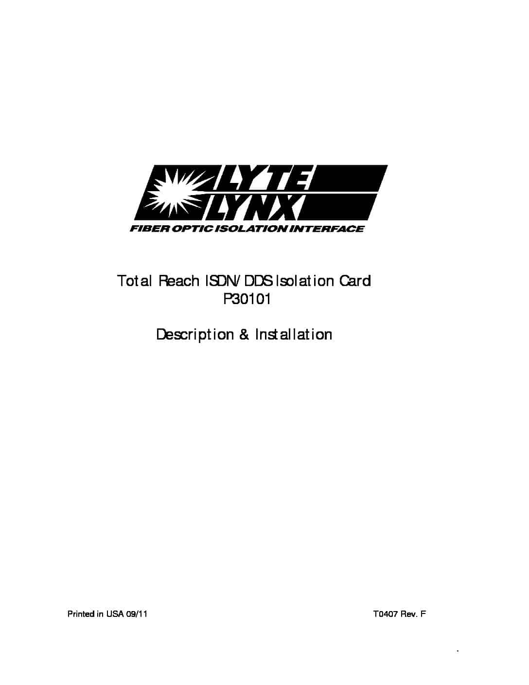 P30101 Total Reach ISDN/DDS Isolation Card PDF thumbnail