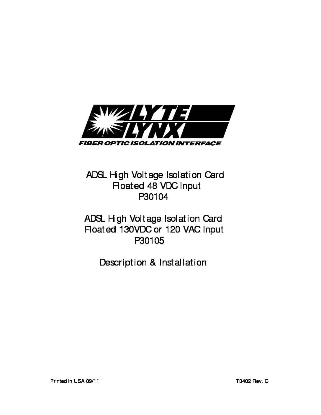 P30104 and P30105 ADSL High Voltage Isolation Card PDF thumbnail