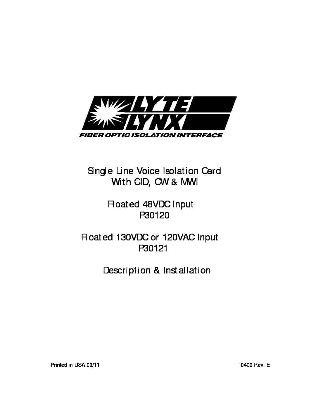P30120 and P30121 Single Line Voice Floated Isolation Card PDF thumbnail