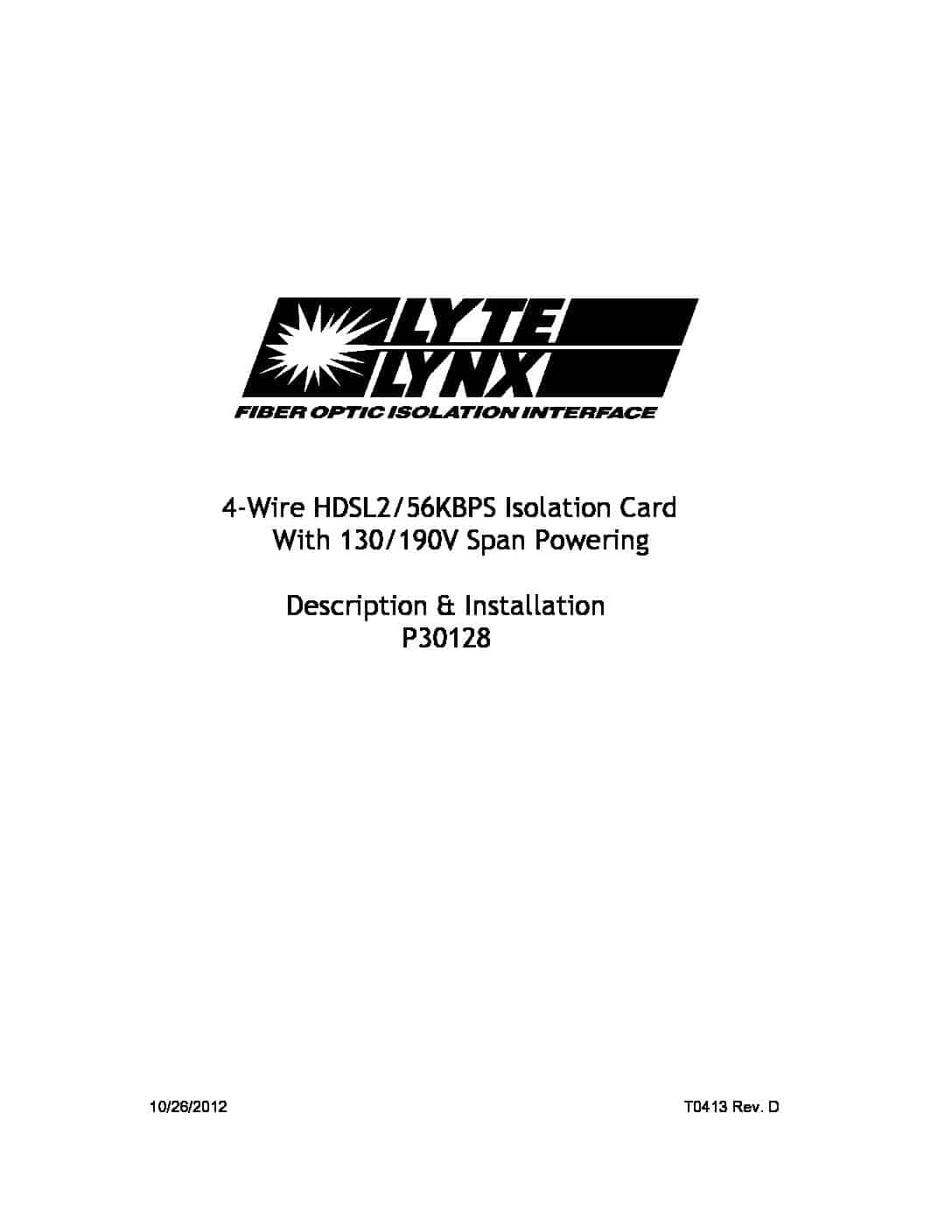 P30128 4-Wire HDSL2 56KBPS Isolation Card PDF thumbnail