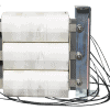 Three-phase transformer with three coils sequentially connected.