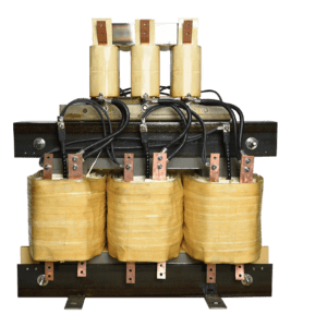 Three phase autotransformer with a single winding.