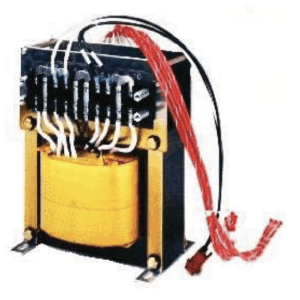 Isolation transformer featuring symmetrical insulated primary and secondary windings.